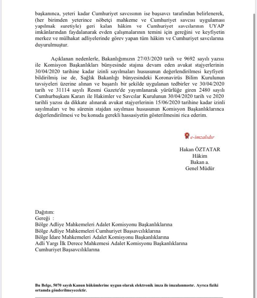 stajyer avukatlarin idari izinleri 15 haziran a kadar uzatildi sakarya barosu